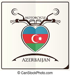 logo, drapeau, fait, azerbaïdjan, motocyclette