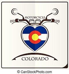 logo, drapeau, fait, colorado, motocyclette