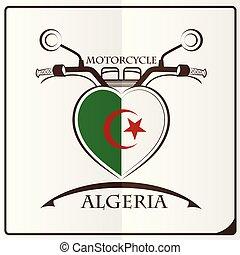 logo, drapeau, fait, motocyclette, algérie