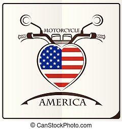 logo, drapeau, fait, motocyclette, amérique