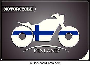 logo, drapeau, fait, motocyclette, finlande