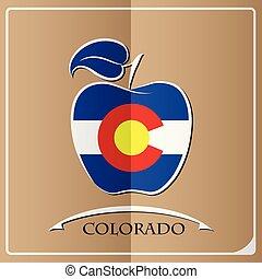 logo, drapeau, fait, pomme, colorado