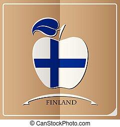logo, drapeau, fait, pomme, finlande