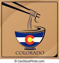 logo, drapeau, nouille, colorado, fait