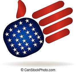 logo, drapeau, usa, main