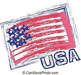 logo, drapeau, vecteur, grunge, usa