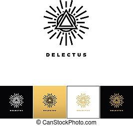 logo, dreieck, vektor, stern, ikone