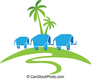 logo, drie, palmen, olifanten
