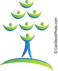 logo, drużyna, drzewo, ludzie
