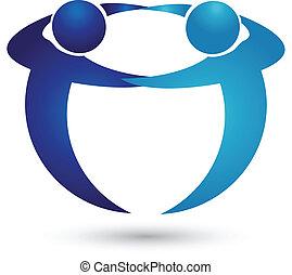 logo, drużyna, handlowy zaludniają