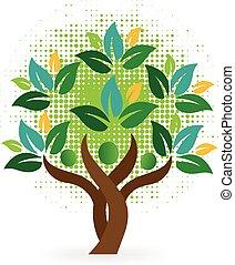 logo, drzewo, ludzie