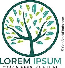 logo, drzewo, okrągły, design.