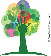 logo, drzewo, ręka