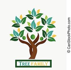 logo, drzewo, rodzina, ludzie