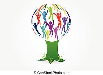 logo, drzewo, wektor, ludzie