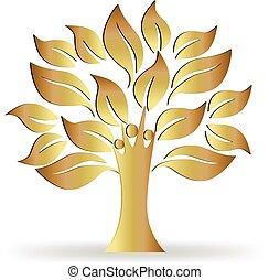 logo, drzewo, złoty, ludzie