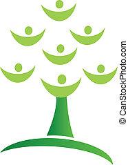 logo, drzewo, zielony, teamwork