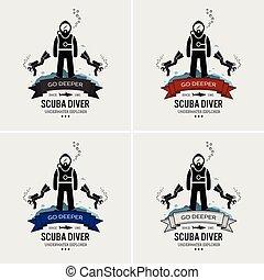 logo, duiken, scuba, design.
