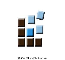 logo, dynamique, carrés