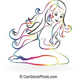 logo, dziewczyna, modlący się, dziecko