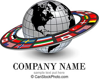 Logo earth globe 3D planet and dynamic orbit with national flags