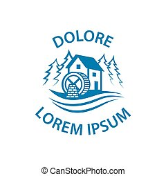 logo., eau, minimalistic, forest., plat, watermill, rivière, icône, moulin, vecteur