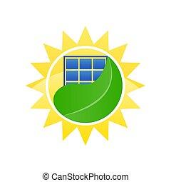 logo ecological solar energy vector illustration