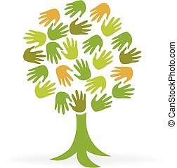 Logo ecology tree green hands