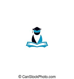 logo, education, book., ouvert