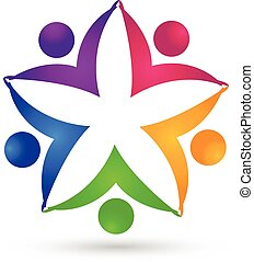logo, eenheid, bloem, teamwork, mensen
