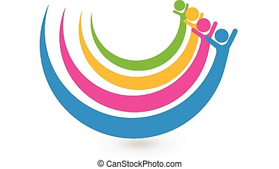 logo, eenheid, concept, vrienden, vrolijke