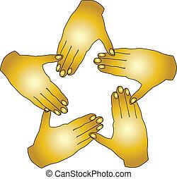 logo, eenheid, vector, handen