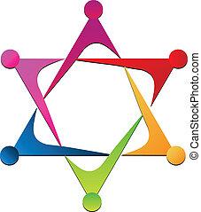 logo, eenheid, vector, team