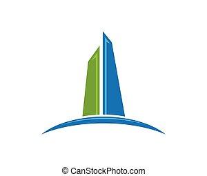 logo, eigenschaft, gebäude