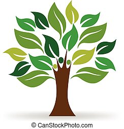 logo, ekologia, drzewo, ludzie