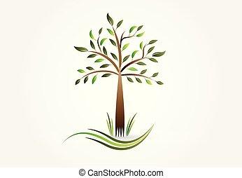 logo, ekologia, drzewo