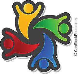 logo, elemen, projektować, 4, partia, teamwork