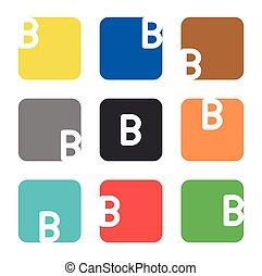 logo, element, skwer, b, litera