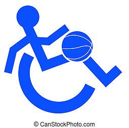 logo, eller, symbol, för, rullstol, sport