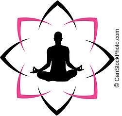 logo, eller, yoga, centrum, duelighed