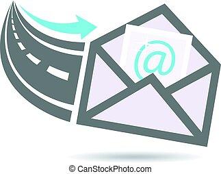 logo, email, snelweg, internet
