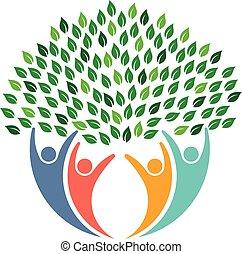 logo., emberek, környezeti, fa