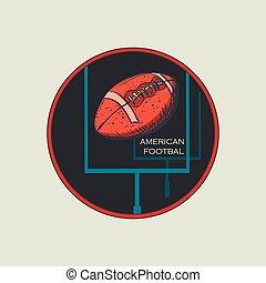 logo, emblème, football, américain