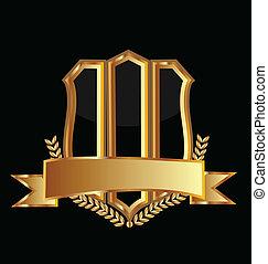 logo, emblem, schutzschirm, gold