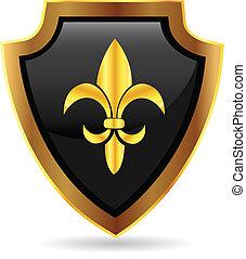 logo, emblem, skydda, guld