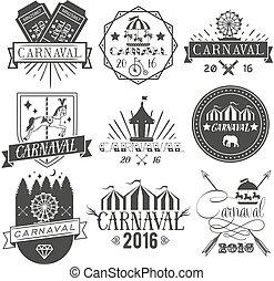 logo, embleme, style., freigestellt, design, satz, zirkus, vektor, kirmes, etiketten, hintergrund., abzeichen, weinlese, elemente, heiligenbilder, weißes