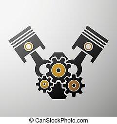 logo, engine., aktie, illustration.