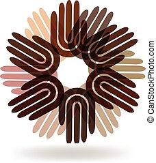 logo, enhed, hænder, folk