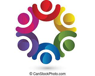 logo, enhed, teamwork, folk