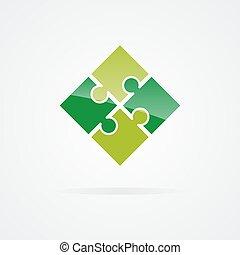 logo, ensemble, couleur, puzzle
